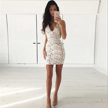 Buy 2018 Womens Elegant Wedding Party Sexy backless Criss Cross NightClub Halter v Neck Sleeveless Sheath Bodycon white Lace Dress