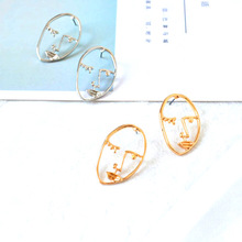 free shipping 10 pair /lot fashion jewelry Artistic Temperament Hand Made Abstract Face Female Earrings(China)