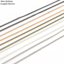 5meters/lot(3*2mm) Multiple Tone Plated Open Link Iron Metal Chains Findings For Jewelry Making Necklace Bracelet Chains DIY(China)