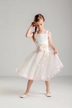 Vestido Sweet Pleated Straps A-line Short Tulle Flower Girl Dress for Wedding Flower Bow Sash Girls First Communion Prom Dresses(China)