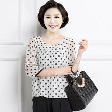 Polka dot Chiffon Blouse 5xl plus size Women's Summer Clothing Big Size O-neck Casual Chiffon Shirts Tops Female