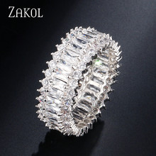 ZAKOL Korea Style Glitter Elegant Baguette Cubic Zircon Flower Finger Rings For Women Men Party Birthday Gift Jewelry FSRP243(China)