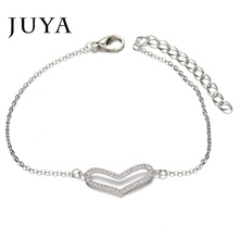 European Fashion Hot Sale New Style Romantic Hollow Heart Bracelet Silver Plated Zircon Crystal for Women Friendship Bracelets