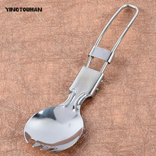 YINGTOUMAN Portable Stainless Foldable Folding Stainless Steel Spoon Spork Fork Outdoor Camping Hiking Traveller Cook(China)