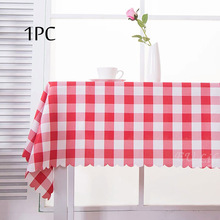2017 New 1PC Red Tablecloth Polyester Plaid Cover Table Cloths for Wedding Party Hotel Dining Home Table Decoration Table Linens(China)