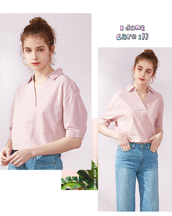 SEMIR Short sleeve white shirt women summer 19 new lapel V-neck shirt simple solid color students fresh relaxed blouse 8