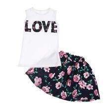 Children Clothes 2018 Summer Baby Girls Clothes T-Shirt+Skirt 2pcs Kids Clothes Girls Sport Suit Toddler Girls Clothing Sets