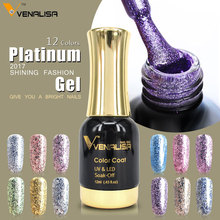 CANNI Factory perfect platinum long lasting chrom foil gel nail polish 12ml Nail Manicure glitter bling color Gel nail Varnish(China)