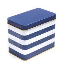 17*10.3*13.5cm Blue white stripes metal tin boxes biscuit cookies Snack navy storage box big(China)