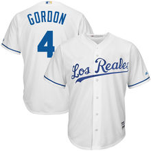 MLB Men's Kansas City Royals Alex Gordon Baseball White Home Los Reales Cool Base Player Jersey(China)