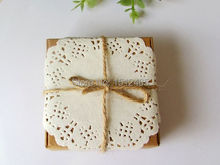 100pcs/lot Brown Square Kraft Paper Boxes With Paper Lace Doilies and String Party Decorations 7*7*3cm KF08-100(China)