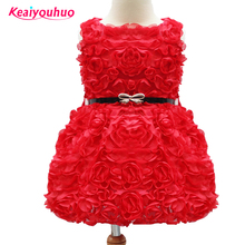 Retail Girl Princess Dress 2017 Summer style Girl full rose flower Vestido Ball Gown Kids Wedding Party TUTU formal Dresses(China)
