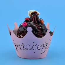 12Pcs/set Princess Crown Design Style Paper Vine Lace Cup Cake Wrappers Party Birthday Decoration Hot Selling Wholesale