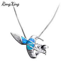 RongXing Cute Bird Blue Fire Opal 925 Sterling Silver Filled Animal Pendants Necklaces For Women White CZ Flower Necklace NL0073