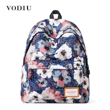 2017 Cute Vintage Designer Flower Printing Women Canvas Backpack School Laptop Bag Casual Girl High Quality Blue Female Teenager