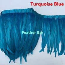 Free Shipping 5 Yard Turquoise Blue Rooster Feather Trims 35-40cm width coque Feather strung Chicken Feather trimming(China)