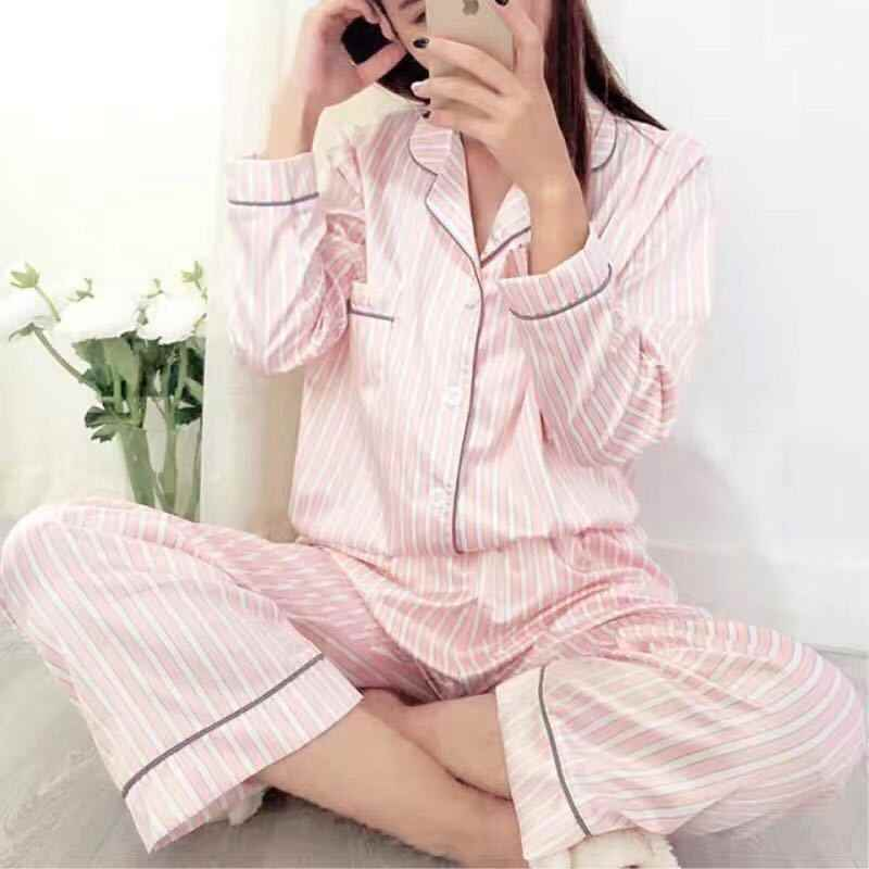2018 New Spring Long-sleeve Sexy Faux Silk Fashion Pink Stripe Women  Pajamas Sets Simple cd2adea8a
