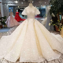 LS11033 champagne wedding dress pure new big round neck short puffy sleeve  wedding gown with shiny long train 11.11 hot selling 9edeab94d226