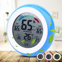 Digital LCD Display Indoor Thermometer Hygrometer Round Wireless Electronic Temperature Humidity Meter Weather Station Tester(China)