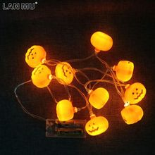 LAN MU 10 LEDs Pumpkin Fairy String battery operated for Halloween Lighting Garden Party Decoration Supplies Home Party Decor