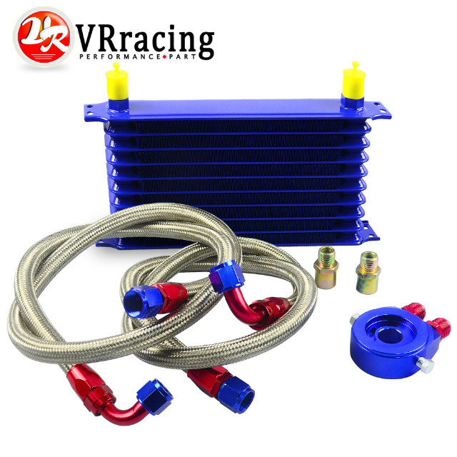 VR RACING- UNIVERSAL 10ROWS OIL COOLER KIT+OIL FILTER SANDWICH ADAPTER+STAINLESS STEEL BRAIDED OIL HOSE BLUE VR5110B+6721BR+2PCS<br><br>Aliexpress