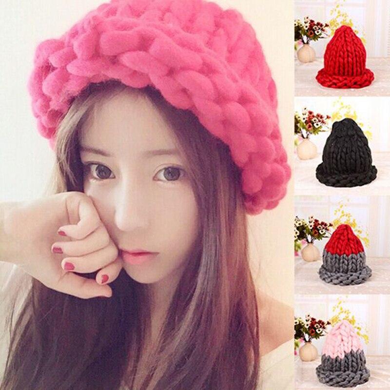 New The Korean Version Fashion Knitting Wool Caps Woman shag line warm winter hats multicolorÎäåæäà è àêñåññóàðû<br><br><br>Aliexpress