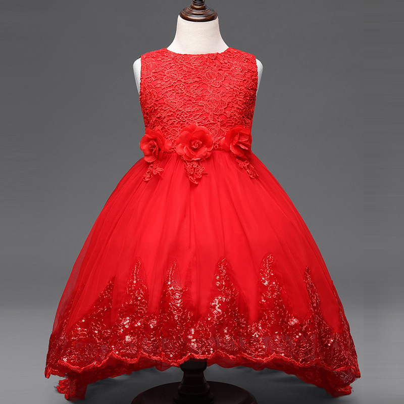 Flower Girl Dress Children Red Mesh Trailing Butterfly Girls Wedding Dress  Kids Ball Gown Embroidered Bow Party Dress