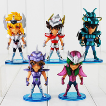 Cheap price 5pcs/lot Saint Seiya Figure Ikki Shiryu Hyoga Seiya Shun PVC Action Figures Collectible Model Toys 10cm Retail