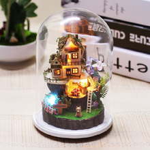 Glass Cover Dollhouse Kit DIY Doll House Furniture Puzzle Toy Xmas Gift Miniature Forest House Micro-landscape Craft Model(China)