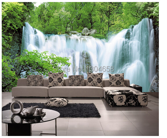 Free shipping custom 3 d mural jungle waterfall Sitting room sofa bedroom TV setting wall wallpaper <br>
