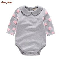 2017 New Pink Love Pattern Baby Rompers Baby Girl Long Sleeve Cotton Jumpsuit Infant Princess Spring Clothes Baby One Piece