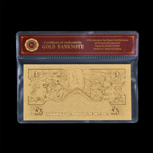 Office Present Old Old Australia $5 DOLLAR Gold Foil Banknote Protect Sleeve + Certificate