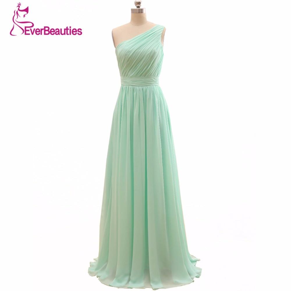 2018 Long Cheap Mint Green Bridesmaid Dresses Under 50 Floor Length Chiffon  a-Line Vestido De Madrinha De Casamento Longo 3e0f88c31e42