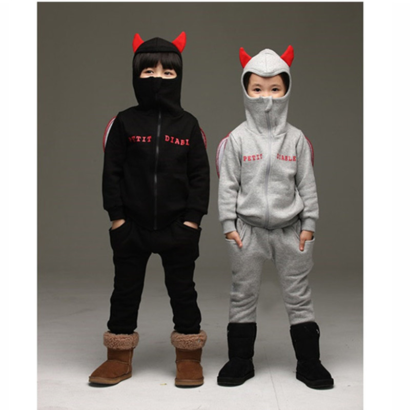 Baby girl boy little demon of set 2017 autumn winter fleece children hooded+pants 2 pcs set suit clothes sets kids tracksuit<br><br>Aliexpress