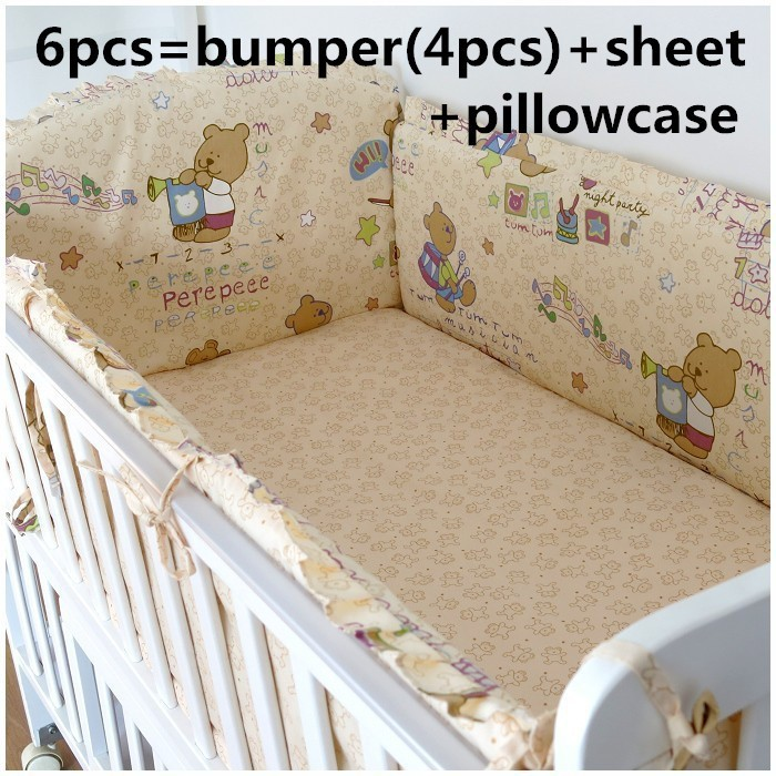 Promotion! 6/7PCS baby bedding bed set, crib ruffle cotton product suite washable  , 120*60/120*70cm<br><br>Aliexpress