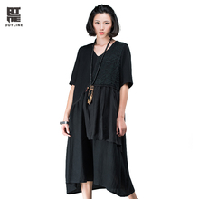 Outline Brand Women Autumn New Dress National Trend Patchwork Loose Dresses Black Embroidery Medium-Long Dresses L163Y052