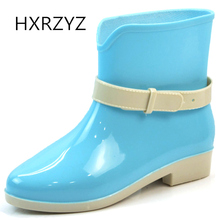 HXRZYZ women's rain boots female rubber boots spring/autumn new fashion PVC buckle Slip-resistant black ankle boots women shoes(China)