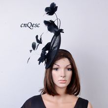 2017 NEW 10 colors Black Sinamay Hat Feather Fascinator for Wedding,Races.