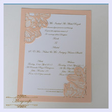 MR003 Flat Insert Card Delicate Craft Wedding Laser Cut Invitation Card