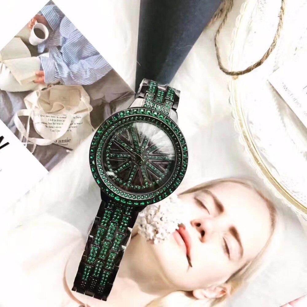 Lady Wrist Crystal Watch Womens Rotate Hours Top Fashion Dress Bracelet Luxury Rhinestones Bling Girl Birthday Gift relojes<br>