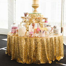2017 New Arrival 120inch Gold/Silver Sequin Tablecloth Round Table Cloth For Wedding/Party/Banquet Wedding Decoration Table(China)
