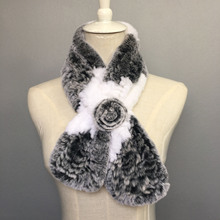Female Knitted scarf Real Rex Rabbit Fur Scarves fur collar female winter lady scarf 100% Real Rex Rabbit Fur scarves Russian