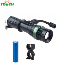 2000LM Powerful Led Hard Light Flashlight Long Range Searchlight Rechargeable 18650 Battery Zoomable Hand Lantern with Bike Clip