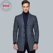 HTLB Brand New Men's Business Fashion Leisure Long Suit Jacket Men England Fashion Pattern Print Formal Wool Warm Suits Coat Men(China)