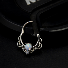 1pc Lacey Opal Hinged Septum Clickers Titanium Shaft 16G Pierced Round Nose Rings Piercing Septo Daith Rook Body Jewelry 16g