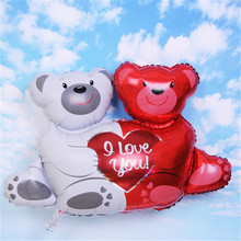 100*76cm Mini Teddy Bear Helium Balloons Wedding Child Birthday Christmas Party Decorations Cartoon Foil Balloons 6ZSH039(China)