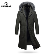 2017 winter thickening warm men long down jacket luxury high quality fox fur collar white duck down hood parka black Dark green(China)