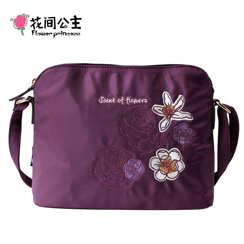 Flower Princess Brand Women Embroidery Floral Shell Bags Girl Nylon Messenger Crossbody Shoulder Bag schouder tassen dames sac <br><br>Aliexpress