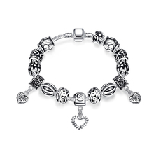 Women's 925 Sterling Silver Black Crystal Bracelets Beads Heart Pendant Handmade Bangles DIY Jewelry Wholesale and Free Shipping