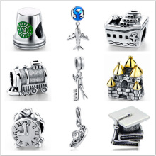 Hot sale charms silver 925 original Coffee cup Plane tower beads DIY Pendant Fit pandora Bracelets fashion beads jewelry making(China)
